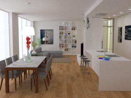 Living + Cucina per un open space ad Appignano